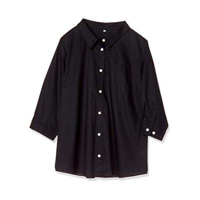セシール ブラウス プランプ 大きいサイズ 形態安定シャツ レギュラーカラー UVカット 抗菌防臭 MW-2494 レディース ブラック 日