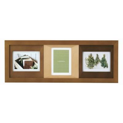 3窓 フォトフレーム L判 写真 3枚 CW33-30-BR カラーウッド たてよこ 写真立て 木製 ナチュラル 高級感 新築祝い ラドンナ 男性 開店祝い シンプル 壁掛け