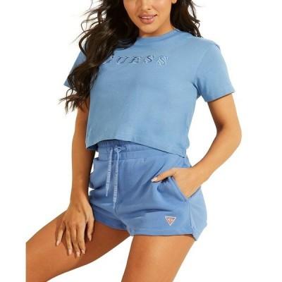 ゲス カットソー トップス レディース Crop Basic Logo T-Shirt MIDDAY BLUE