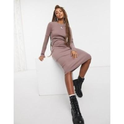 エイソス レディース ワンピース トップス ASOS DESIGN super soft body-conscious midi with mesh insert sleeve dress in brown Brown