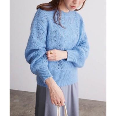 ニット 【春まで着られる】透かし編みモヘアプルオーバー
