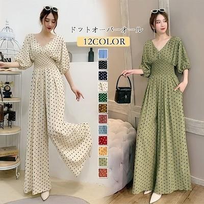 12色 ドットオーバーオール 韓国 服 夏服 レディース /ワイドパンツ/ パンツ 9N707