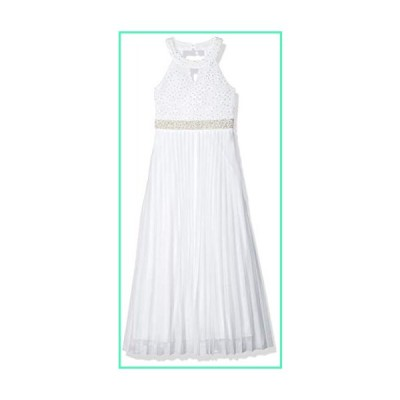 Speechless Big Girls 7-16 Tween Full-Length Pleated Maxi Dress with Neck Cut Out, White, 7並行輸入品