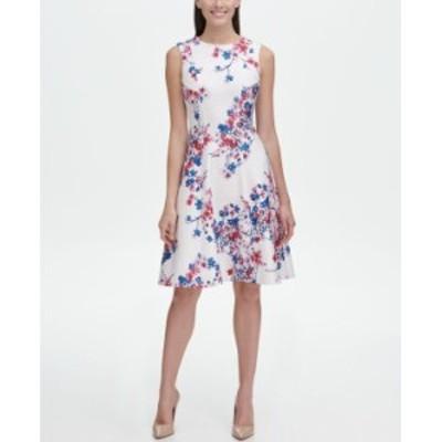 トミー ヒルフィガー レディース ワンピース トップス Floral Fit and Flare Dress Ivory/ Bay Blue