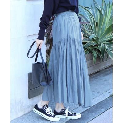 【コーエン】 アシンメトリーカラースカート(ロングスカート/マキシスカート)# レディース LTBLUE FREE coen