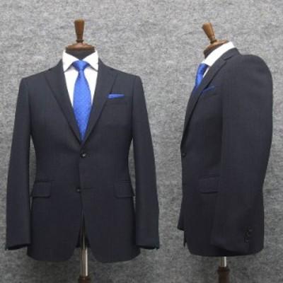 スタイリッシュ2釦スーツ ウール100% 紺系/ミニヘリンボン [YA体] 秋冬物 総裏地 メンズスーツ A10531