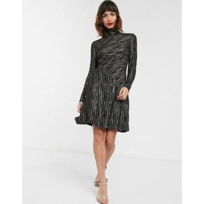 ウエアハウス レディース ワンピース トップス Warehouse metallic stripe dress with high neck in black Black