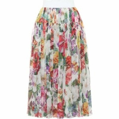 ドルチェandガッバーナ Dolce and Gabbana レディース ひざ丈スカート スカート Pleated floral silk midi skirt Mix Fiori Fdo Bianco