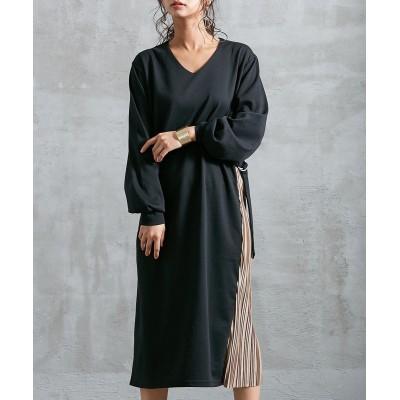 Vネックサイドプリーツワンピース (ワンピース)Dress