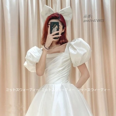 ウェディングドレス プリンセスラインドレス ミモレ丈 パフスリーブ ウエディングドレス 二次会 演奏会 結婚式 花嫁 パーティードレス 披露宴 ブライダル