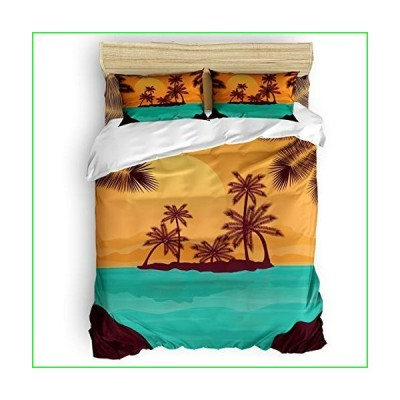 Yogaly Home Bedding Set 4 Pieces King Size for Adults/Teens/Children/Baby Ocean Beach Coconut Palm Trees Sunset Printed Bed Sheets, Duvet Co
