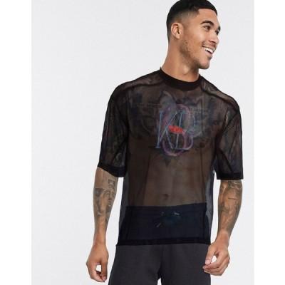 エイソス 半袖Tシャツ メンズ ASOS DESIGN oversized t-shirt with seam detail and collegiate print in wide mesh エイソス ASOS ブラック 黒