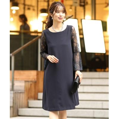 【結婚式・パーティードレス】バックレースプリーツサックワンピースドレス<大きいサイズ有> 【謝恩会・パーティドレス】Dress