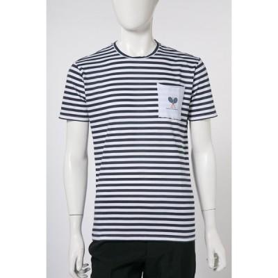 ダニエレアレッサンドリーニ DANIELEALESSANDRINI Tシャツ 半袖 丸首 MAGLIA TALPA BIC ST メンズ M6573E6793800 ホワイト×ブルー 目玉商品