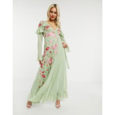 エイソス レディース ワンピース トップス ASOS DESIGN long sleeve maxi wrap dress with floral embroidery in sage green Sage green