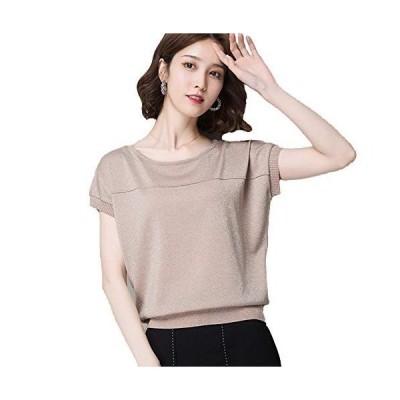Blostirno レディス Tシャツ 大きいサイズ 半袖 バットシャツ 無地 アイスミルク 夏 アプリコット(JP0063APR-M)
