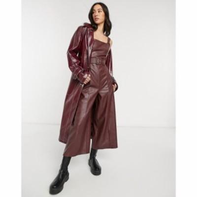 エイソス ASOS DESIGN レディース オールインワン ジャンプスーツ ワンピース・ドレス Pu Square Neck Belted Jumpsuit In Brown ブラウ