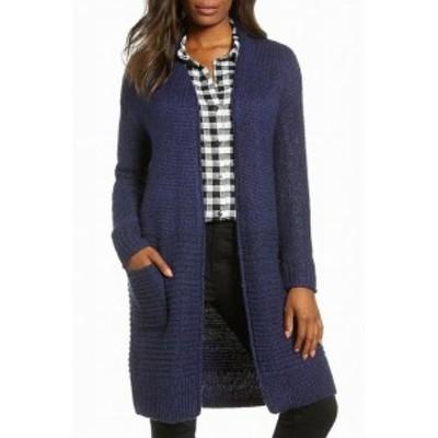 Pocket  ファッション トップス Caslon Womens Navy Blue Size XS Pocket Open-Front Cardigan Sweater