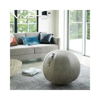 YAMAZAKI/山崎実業 座れるボール シーティングボール 65cm Vivora Luno レザーレットファブリック ライトグレー ポンプ付き ベースリング不要