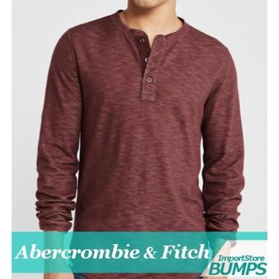 アバクロンビー&フィッチ 無地Tシャツ ヘンリーネック 半袖 メンズ ラウンドT エクスプローデッド ロゴ XS〜XXL 新作 アバクロ