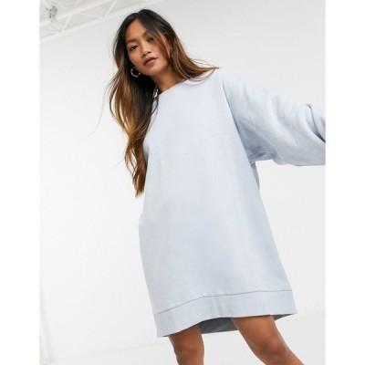 ウィークデイ レディース ワンピース トップス Weekday Liza mini sweatshirt dress in light blue Blue