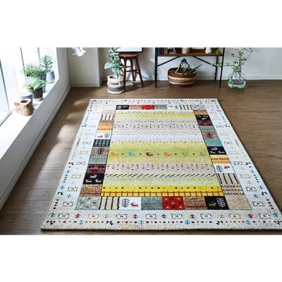トルコ製 ウィルトン織カーペット ギャッペ調ラグ 『 イビサ 』 アイボリー 約200×250cm 2348259