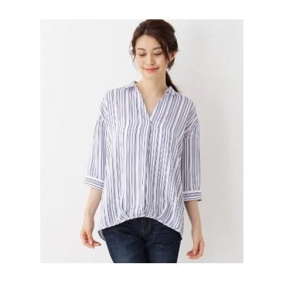 SHOO・LA・RUE(Ladies)(シューラルー(レディース))梨地スキッパーシャツ