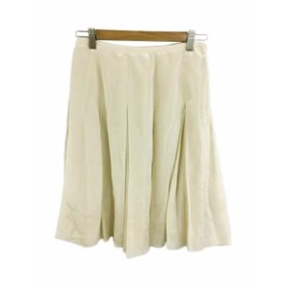 【中古】マヌーカ MANOUQUA スカート フレア プリーツ ひざ丈 36 ベージュ レディース