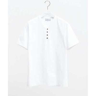【アバハウス】 シルケット天竺ヘンリーネック半袖Tシャツ メンズ ホワイト 46 ABAHOUSE