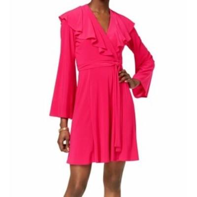 taylor テイラー ファッション ドレス Taylor NEW Pink Fuchsia Womens Size 2 Ruffle Surplice Wrap Dress