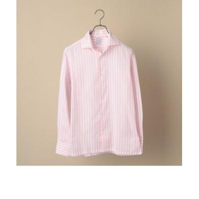 SD: ウォッシュド ICE COTTON(R) ワンピース ストライプ ピンク シャツ