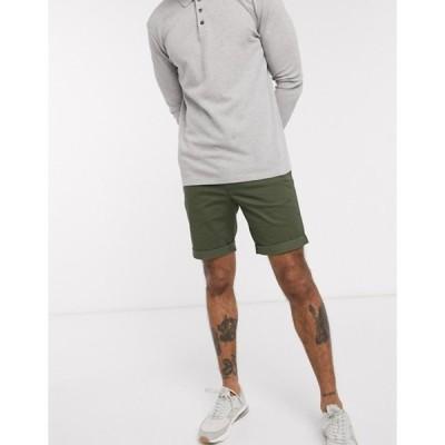 セレクテッドオム メンズ ハーフパンツ・ショーツ ボトムス Selected Homme organic cotton chino shorts in khaki