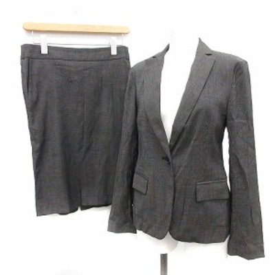【中古】 MACKINTOSH スーツ セットアップ 上下 ジャケット 38 M スカート 40 L ドット ウール 黒 レディース
