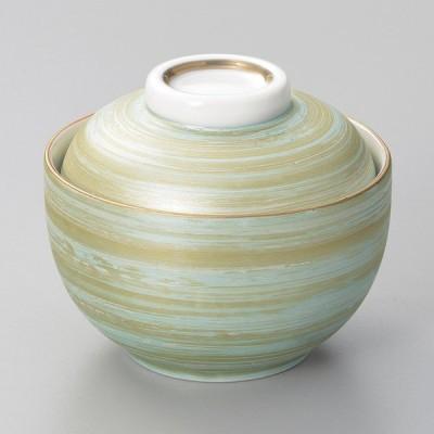 陶雅 緑巻金彩刷毛小煮物碗
