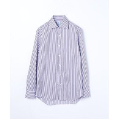【トゥモローランド】 ERRICO FORMICOLA コットンストライプ ワイドカラー ドレスシャツ メンズ 76パープル系 40 TOMORROWLAND