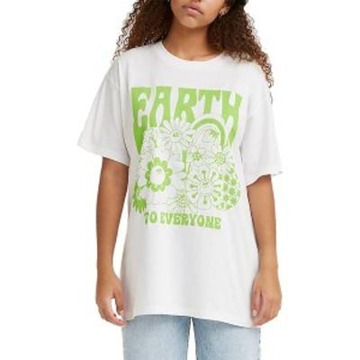 リーバイス レディース シャツ トップス Levi's Women's Roadtrip Graphic T-Shirt Earth To Everyone White