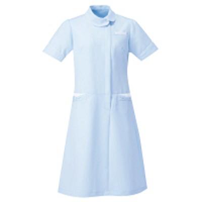 アイトスAITOZ(アイトス) アシンメトリーカラーワンピース ナースワンピース 医療白衣 半袖 サックス×ホワイト L 861114