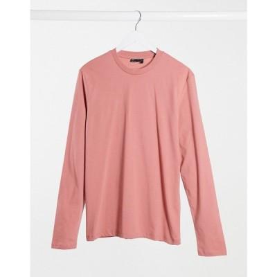 エイソス ASOS DESIGN メンズ 長袖Tシャツ トップス long sleeve t-shirt in pink キャニオンローズ
