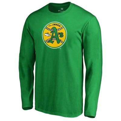オークランド・アスレチックス Fanatics Branded Cooperstown Collection Huntington Long Sleeve T-シャツ - Heathered Gray