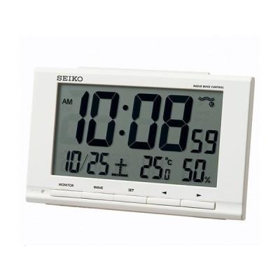セイコー クロック 電波 目覚し時計 SQ789W 温度 湿度表示 電子音アラーム 白 ホワイト デジタル SEIKO CLOCK