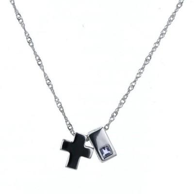 K18WG ホワイトゴールド ネックレス サファイア ダブルトップ クロス 十字架 スクエア 40cm【新品仕上済】【af】【中古】