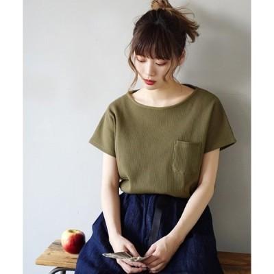 tシャツ Tシャツ ワッフルカットソー ポケット付きプルオーバー