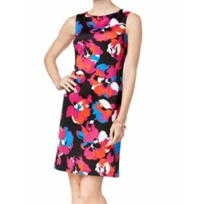 Shift  ファッション ドレス Kasper NEW Black Womens Size 8P Petite Floral Scuba Shift Dress