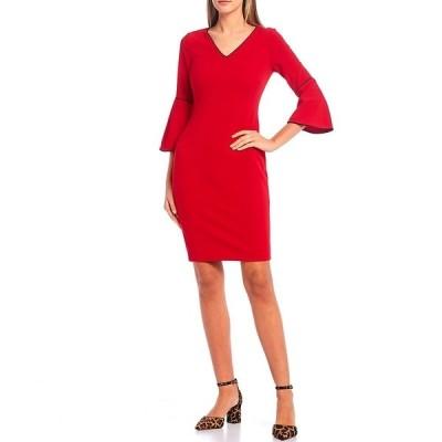 カルバンクライン レディース ワンピース トップス Scuba Crepe Contrast Pipe Trim V-Neck Bell Sleeve Sheath Dress Rouge