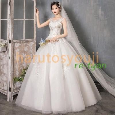 ウェディングドレス安い結婚式二次会花嫁ホワイトプリンセスドレス白ロングドレス披露宴編み上げロングドレス演奏会白ワンピースパーティードレス