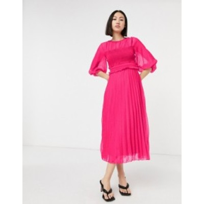エイソス レディース ワンピース トップス ASOS DESIGN textured pleated shirred midi dress in hot pink Hot pink