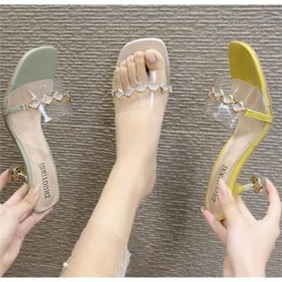 ミュール サンダル 細ヒール シースルー レディース ヒールサンダル 夏 靴 女性 美脚 おしゃれ 通勤 歩きやすい 20代 30代 40代