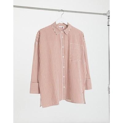 エイソス レディース シャツ トップス ASOS DESIGN long sleeve oversized cotton dad shirt in red and cream stripe