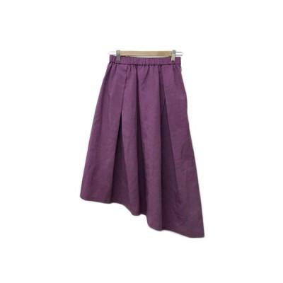 【中古】クリアインプレッション スカート フレア ギャザー ロング アシンメトリー フィッシュテール ウエストゴム 無地 2 紫 ピンク 【ベクトル 古着】