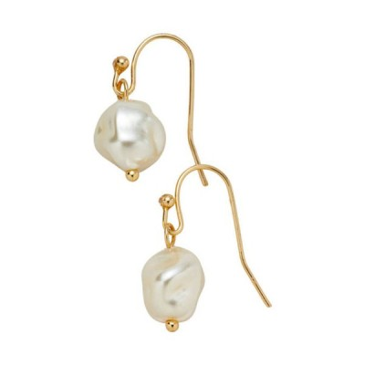 キム ロジャース レディース ピアス・イヤリング アクセサリー Gold Tone White Organic Pearl Fishhook Drop Pierced Earrings